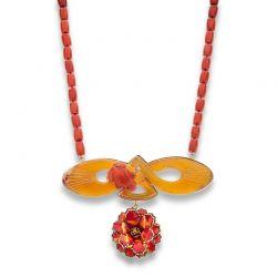 Colar de coral com flor de esmalte