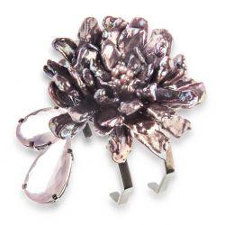 Bracelete flor de pérolas com quartzo rosa