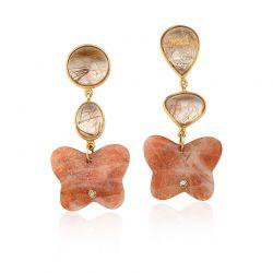 Brincos de opala e quartzos rutilados