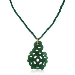 Gargantilha de jade com diamantes