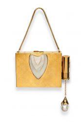 Clutch com porta batom externo, prata e madrepérola central