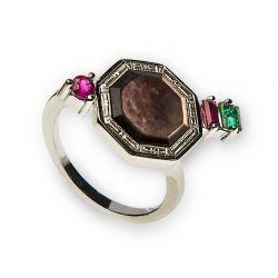 Anel de prata com rubis e esmeralda